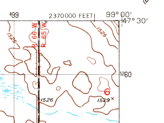 Reduced fragment of topographic map en--usgs--024k--007379--(1950)--N047-30-00_W099-07-30--N047-22-30_W099-00-00; towns and cities Carrington