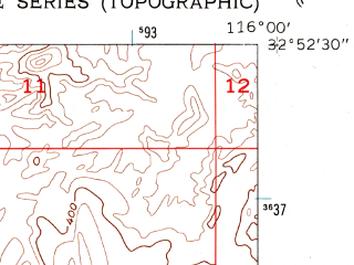Reduced fragment of topographic map en--usgs--024k--007388--(1957)--N032-52-30_W116-07-30--N032-45-00_W116-00-00