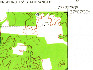 Reduced fragment of topographic map en--usgs--024k--007419--(1952)--N037-07-30_W077-30-00--N037-00-00_W077-22-30