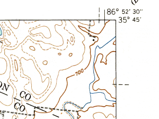 Reduced fragment of topographic map en--usgs--024k--007450--(1941)--N035-45-00_W087-00-00--N035-37-30_W086-52-30; towns and cities Spring Hill