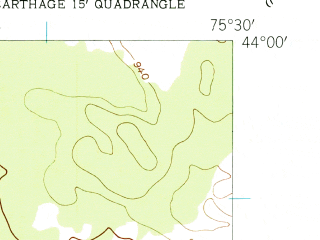 Reduced fragment of topographic map en--usgs--024k--007456--(1943)--N044-00-00_W075-37-30--N043-52-30_W075-30-00; towns and cities Carthage, Castorland, West Carthage