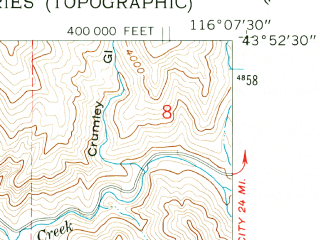 Reduced fragment of topographic map en--usgs--024k--007468--(1957)--N043-52-30_W116-15-00--N043-45-00_W116-07-30