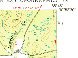 Reduced fragment of topographic map en--usgs--024k--007483--(1949)--N030-52-30_W085-52-30--N030-45-00_W085-45-00; towns and cities Caryville, Westville