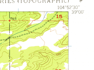Reduced fragment of topographic map en--usgs--024k--007498--(1948)--N039-00-00_W105-00-00--N038-52-30_W104-52-30; towns and cities Cascade