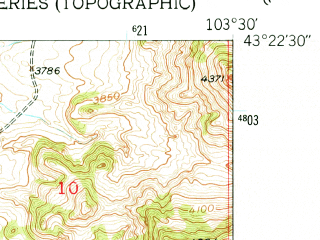 Reduced fragment of topographic map en--usgs--024k--007506--(1950)--N043-22-30_W103-37-30--N043-15-00_W103-30-00