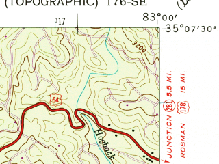 Reduced fragment of topographic map en--usgs--024k--007523--(1946)--N035-07-30_W083-07-30--N035-00-00_W083-00-00