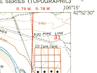 Reduced fragment of topographic map en--usgs--024k--007534--(1951)--N042-52-30_W106-22-30--N042-45-00_W106-15-00; towns and cities Casper, Evansville