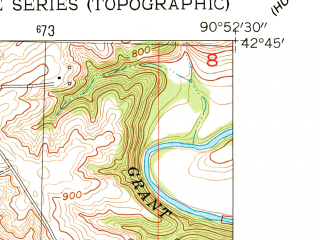 Reduced fragment of topographic map en--usgs--024k--007553--(1955)--N042-45-00_W091-00-00--N042-37-30_W090-52-30; towns and cities Cassville, North Buena Vista