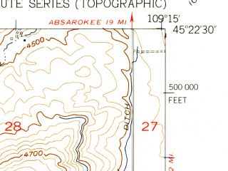 Reduced fragment of topographic map en--usgs--024k--007557--(1956)--N045-22-30_W109-22-30--N045-15-00_W109-15-00