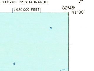 Reduced fragment of topographic map en--usgs--024k--007558--(1959)--N041-30-00_W082-52-30--N041-22-30_W082-45-00; towns and cities Bay View, Castalia