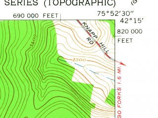 Reduced fragment of topographic map en--usgs--024k--007573--(1961)--N042-15-00_W076-00-00--N042-07-30_W075-52-30; towns and cities Port Dickinson