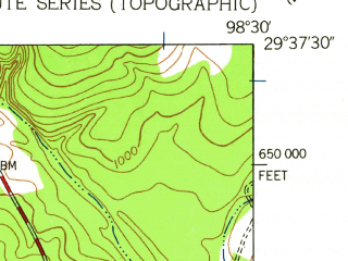 Reduced fragment of topographic map en--usgs--024k--007582--(1953)--N029-37-30_W098-37-30--N029-30-00_W098-30-00; towns and cities Castle Hills, Shavano Park