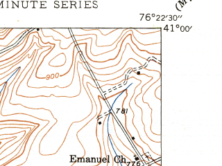 Reduced fragment of topographic map en--usgs--024k--007646--(1947)--N041-00-00_W076-30-00--N040-52-30_W076-22-30; towns and cities Catawissa
