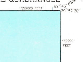 Reduced fragment of topographic map en--usgs--024k--007649--(1934)--N029-52-30_W092-52-30--N029-45-00_W092-45-00 in area of Catfish Lake