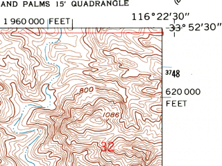 Reduced fragment of topographic map en--usgs--024k--007659--(1958)--N033-52-30_W116-30-00--N033-45-00_W116-22-30; towns and cities Cathedral City, Rancho Mirage, Thousand Palms