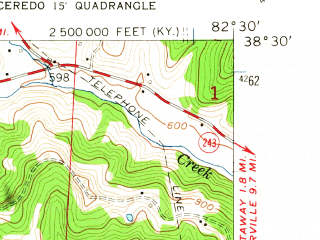 Reduced fragment of topographic map en--usgs--024k--007675--(1957)--N038-30-00_W082-37-30--N038-22-30_W082-30-00; towns and cities Burlington, Catlettsburg, Ceredo