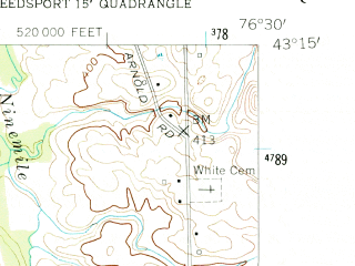 Reduced fragment of topographic map en--usgs--024k--007681--(1954)--N043-15-00_W076-37-30--N043-07-30_W076-30-00; towns and cities Cato, Meridian