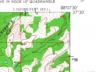 Reduced fragment of topographic map en--usgs--024k--007719--(1958)--N037-30-00_W088-15-00--N037-22-30_W088-07-30; towns and cities Cave-in-rock