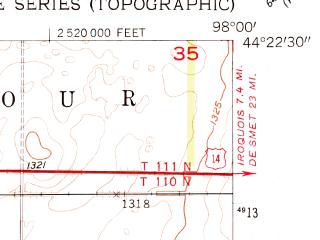 Reduced fragment of topographic map en--usgs--024k--007732--(1957)--N044-22-30_W098-07-30--N044-15-00_W098-00-00; towns and cities Cavour