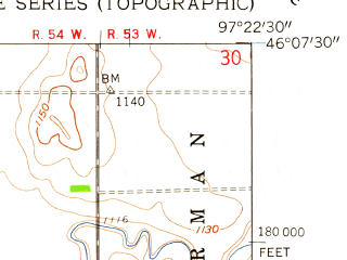 Reduced fragment of topographic map en--usgs--024k--007745--(1958)--N046-07-30_W097-30-00--N046-00-00_W097-22-30; towns and cities Cayuga
