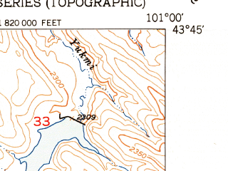 Reduced fragment of topographic map en--usgs--024k--007780--(1951)--N043-45-00_W101-07-30--N043-37-30_W101-00-00