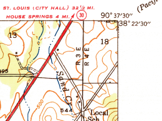 Reduced fragment of topographic map en--usgs--024k--007811--(1938)--N038-22-30_W090-45-00--N038-15-00_W090-37-30; towns and cities Cedar Hill, Cedar Hill Lakes