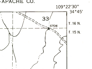 Reduced fragment of topographic map en--usgs--024k--007819--(1955)--N034-45-00_W109-30-00--N034-37-30_W109-22-30