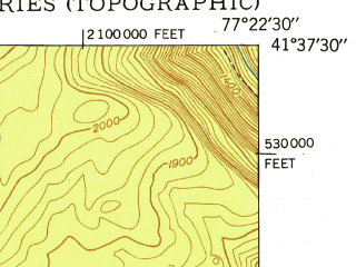 Reduced fragment of topographic map en--usgs--024k--007849--(1948)--N041-37-30_W077-30-00--N041-30-00_W077-22-30