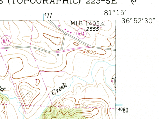 Reduced fragment of topographic map en--usgs--024k--007850--(1959)--N036-52-30_W081-22-30--N036-45-00_W081-15-00