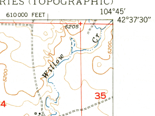Reduced fragment of topographic map en--usgs--024k--007855--(1950)--N042-37-30_W104-52-30--N042-30-00_W104-45-00