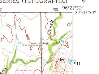 Reduced fragment of topographic map en--usgs--024k--007858--(1962)--N037-07-30_W096-30-00--N037-00-00_W096-22-30