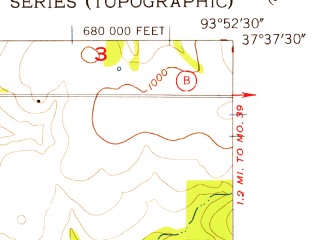 Reduced fragment of topographic map en--usgs--024k--007873--(1956)--N037-37-30_W094-00-00--N037-30-00_W093-52-30; towns and cities Arcola