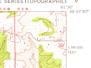 Reduced fragment of topographic map en--usgs--024k--007903--(1959)--N039-37-30_W091-37-30--N039-30-00_W091-30-00; towns and cities Center