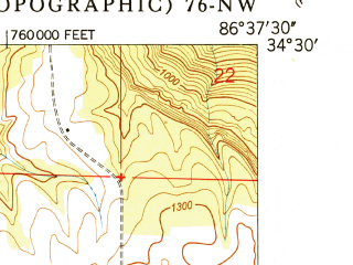 Reduced fragment of topographic map en--usgs--024k--007907--(1950)--N034-30-00_W086-45-00--N034-22-30_W086-37-30