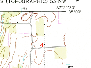 Reduced fragment of topographic map en--usgs--024k--007912--(1952)--N035-00-00_W087-30-00--N034-52-30_W087-22-30