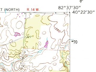 Reduced fragment of topographic map en--usgs--024k--007933--(1961)--N040-22-30_W082-45-00--N040-15-00_W082-37-30; towns and cities Centerburg