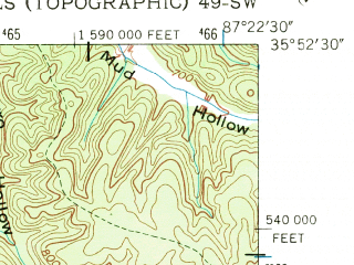 Reduced fragment of topographic map en--usgs--024k--007937--(1952)--N035-45-00_W086-00-00--N035-37-30_W085-52-30; towns and cities Centertown