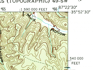 Reduced fragment of topographic map en--usgs--024k--007948--(1952)--N035-52-30_W087-30-00--N035-45-00_W087-22-30; towns and cities Centerville