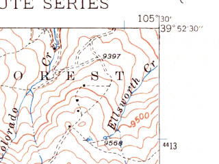 Reduced fragment of topographic map en--usgs--024k--007961--(1942)--N039-52-30_W105-37-30--N039-45-00_W105-30-00; towns and cities Central City