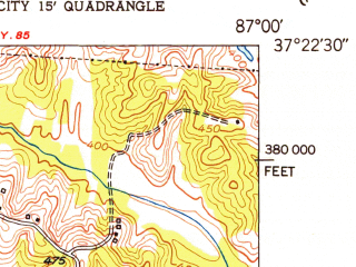 Reduced fragment of topographic map en--usgs--024k--007964--(1953)--N037-22-30_W087-07-30--N037-15-00_W087-00-00