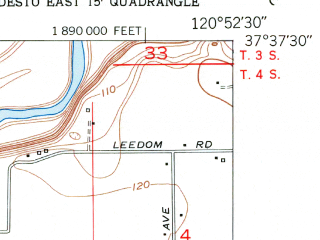 Reduced fragment of topographic map en--usgs--024k--007998--(1953)--N037-37-30_W121-00-00--N037-30-00_W120-52-30; towns and cities Ceres, Keyes