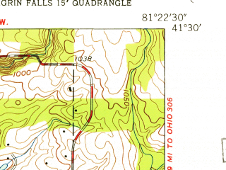 Reduced fragment of topographic map en--usgs--024k--008055--(1953)--N041-30-00_W081-30-00--N041-22-30_W081-22-30; towns and cities Solon, Pepper Pike, Woodmere, Bentleyville, Chagrin Falls