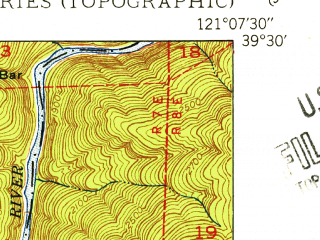 Reduced fragment of topographic map en--usgs--024k--008084--(1950)--N039-30-00_W121-15-00--N039-22-30_W121-07-30
