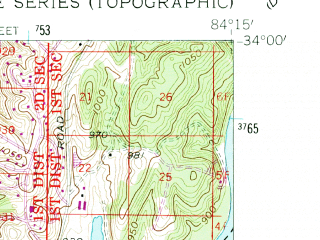 Reduced fragment of topographic map en--usgs--024k--008103--(1954)--N034-00-00_W084-22-30--N033-52-30_W084-15-00; towns and cities Sandy Springs, Dunwoody, Chamblee, Doraville