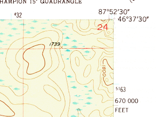 Reduced fragment of topographic map en--usgs--024k--008110--(1955)--N046-37-30_W088-00-00--N046-30-00_W087-52-30