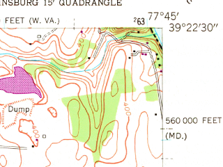 Reduced fragment of topographic map en--usgs--024k--008197--(1955)--N039-22-30_W077-52-30--N039-15-00_W077-45-00; towns and cities Bolivar, Charles Town, Ranson