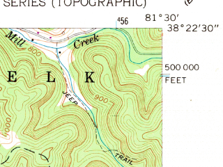 Reduced fragment of topographic map en--usgs--024k--008208--(1957)--N038-22-30_W081-37-30--N038-15-00_W081-30-00; towns and cities Coal Fork