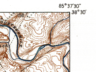 Reduced fragment of topographic map en--usgs--024k--008215--(1937)--N038-30-00_W085-45-00--N038-22-30_W085-37-30; towns and cities Charlestown