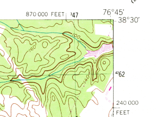 Reduced fragment of topographic map en--usgs--024k--008229--(1953)--N038-30-00_W076-52-30--N038-22-30_W076-45-00; towns and cities Charlotte Hall