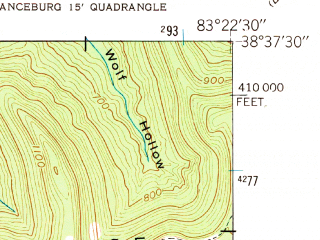Reduced fragment of topographic map en--usgs--024k--008241--(1949)--N038-37-30_W083-30-00--N038-30-00_W083-22-30